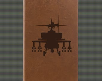 Engraved Leatherette Journal - Helicopter Designs