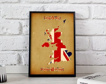 United Kingdom print art UK poster UK art UK Map United Kingdom poster wall art wall decor print