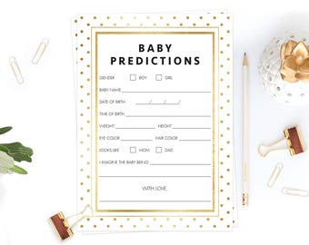 Baby Predictions Game Gold Baby Shower Games Template Baby Gender Prediction Cards Printable Gender Predictions Guess Baby Stats Game GD1
