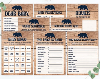 Baby Bear Baby Shower Games Pack, Printable Baby Shower Card, Rustic Baby Shower Woodland Creatures, Baby Bingo Boy, The Price is Right, BBL