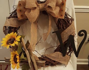 "Fall Sunflower Wreath with letter, 18"" wreath, grapevine wreath, Burlap and sycamore wreath, door wreath, wreath with letter, FREE SHIPPING"