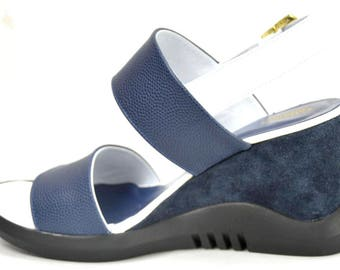 White and Navy leather sandal