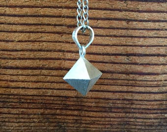 Pure Silver Diamond Necklace Pendant, Matte