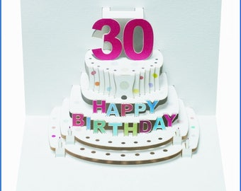 Pop Up Laser cut card - 30th Birthday  POP45