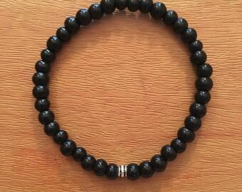 Glossy black beaded bracelet