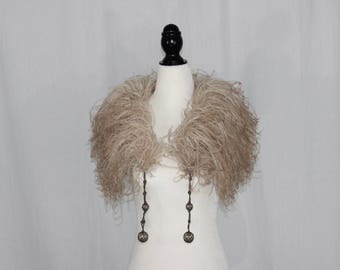 1920's Flapper Blush Feather Boa Collar - Beautifully Vintage