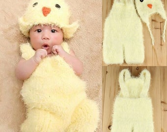 Baby Chick Hat And Romper Suspenders, Newborn Photography Prop, Yellow Chicken, Party Costume, Cute Photo Props, Crochet Chick Set, Girl Boy