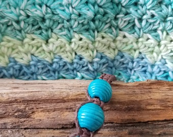 Dark Brown and Turquoise Hemp Bracelet