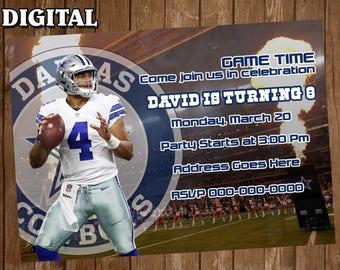 Dallas Cowboys Digital Party Invitation Custom Personalized birthday Printable