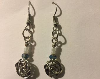Metal Rose Earrings - Single Tier