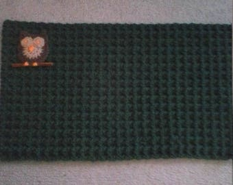 handmade crochet coffee table placemat with owl