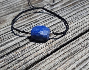 faceted lapis macrame bracelet