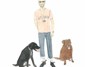 A painting of a person and 2 dogs. This is an example