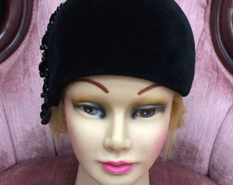 Vintage Miss Berger Buffalo Black Velour Hat with Beads size 22