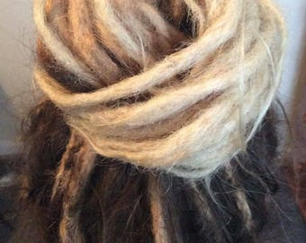 Dreadlock extensions human hair, ombré blonde