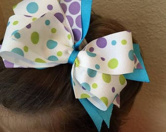 Blue and Purple Polka Dots Hair Bow