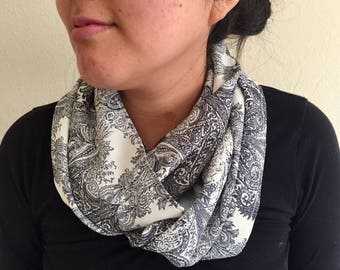 Classic Black Accent Infinity Scarf
