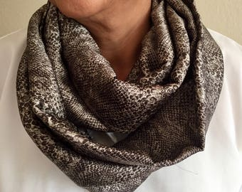 Animal Print Accent Infinity Scarf