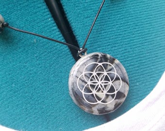 Handmade seed of life clay necklace