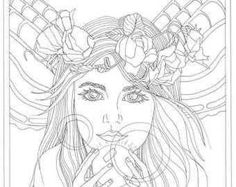 Adult Coloring Fairy Fortune Teller