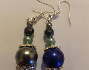 Blue and silver mixed beads earrings