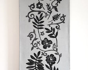 Black and grey tall floral wall art