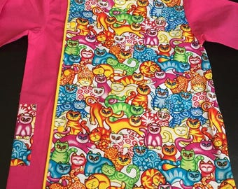 "Apron school - school girl pink ""cats"" apron with snap buttons and pockets"