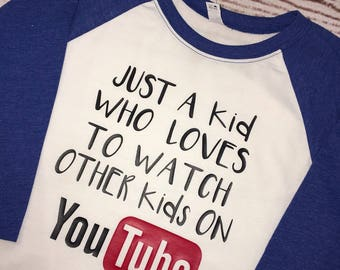 Youth YouTube kid raglan tee shirt Kid watch kid on YouTube choose your color FREE SHIPPING