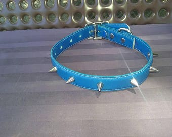 Blue leather collar with spikes