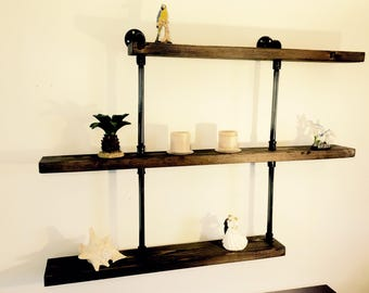 3 Tier Rustic Pipe Shelf, Industrial Shelving, Industrial Black Pipe Shelf, Rustic Home Living