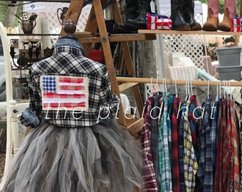 American Flag plaid flannel shirt red white blue