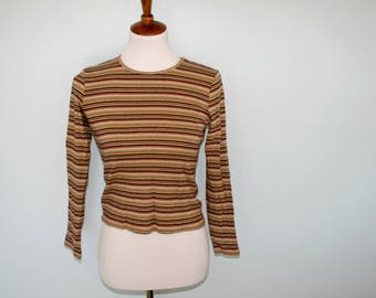 Cropped Striped Long Sleeve The Limited Top Vintage 90s
