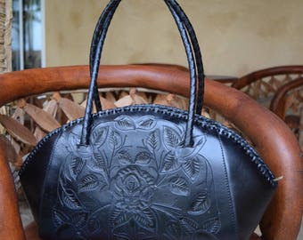 Black Hand Tooled Leather Handbag
