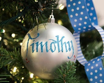 Silver Shatterproof Personalised Christmas Decoration