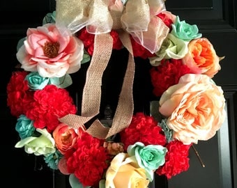 Red Carnation Wreath, Summer Wreath, Spring Wreath, Colorful Wreath, Bow Wreath, Burlap Wreath
