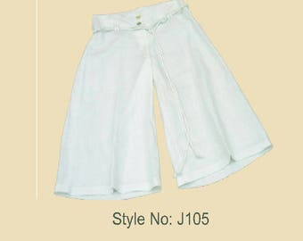 UNIKA Design Unique Women White Linen Baggy Pants Capri Trousers with Rope Belt