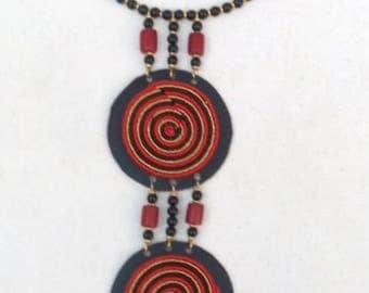 Leather pendant choker necklace, Kenya necklace, handmade jewelry, gift Jewelry, ladies jewelry, girls jewelry