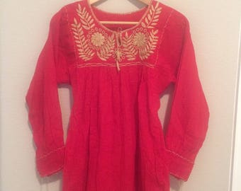 Red Embroidered Boho Tunic/Dress
