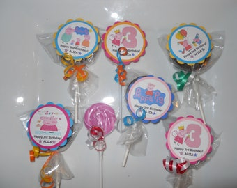 """24 Peppa Pig 2"""" Candy Swirl Lollipop Theme Birthday Personalized Party Favors with custom tags"""