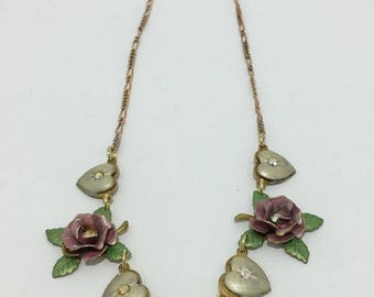 Vintage TOP SHELF JEWELRY roses, hearts and pearl necklace