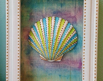 Lime Green and Aqua Hand painted Scallop Shell