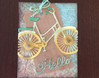 Bicycle themed, Hello, Multi layered blank card in shades of green and beige