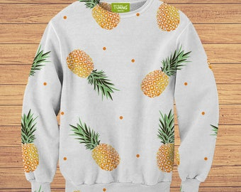 TeenMango Colorful Pineapple On Grey Sweater (fullprint, colorfull) free worldwide shipping