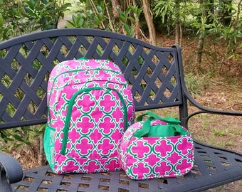 Monogrammed Backpack, Monogrammed Backpack & Lunch Box, Girls Backpack, Personalized Backpack, SHIPPING INCLUDED