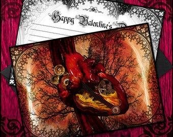 Black Gear Heart Valentine Card - Digital, Immediate Download