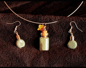 Set: Pendant & earrings in glass (with necklace)