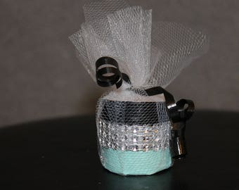 Teal Black and Silver Tealight Tulle Party Favors