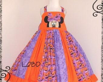 Girls Minnie Halloween Pumpkins Dress - fits aprx 4/5 4T - Trick or Treat - Fall Autumn