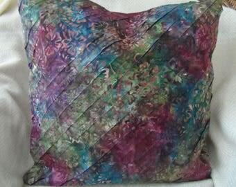 "Maroon/blue batik 18""x18""+ textured pillow cover,BS08"