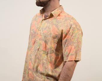 90's Vintage Mens Floral Shirt / Large 42cm Button up Casual Short Sleeved Flower Tropical Vacation Summer Beach Lancer Designer Shirt